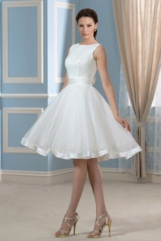 Vestido de novia Falta Hasta la Rodilla Moderno Natural Lazos Corte-A