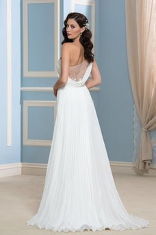 Vestido de novia Rectángulo Imperio Un sólo hombro Blusa plisada Imperio Cintura