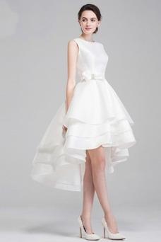 Vestido de novia Satén Playa Romántico Escalonado Natural Delgado