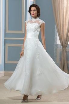Vestido de novia Playa Alto cubierto Natural Sin mangas Capa de encaje