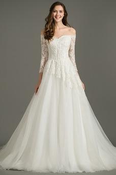 Vestido de novia Natural Clasicos Iglesia Corte-A Escote Corazón La mitad de manga