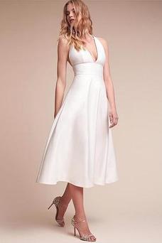 Vestido de novia sexy Cremallera Criss Cross primavera Escote en V Natural