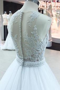 Vestido de novia Abalorio Elegante Verano Cola Barriba Natural Transparente