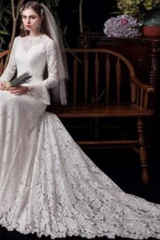 Vestido de novia Corte Sirena Natural Cremallera Fuera de casa Manga Poeta
