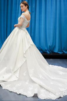 Vestido de novia Natural Baja escote en V Otoño Manga corta Escote con Hombros caídos
