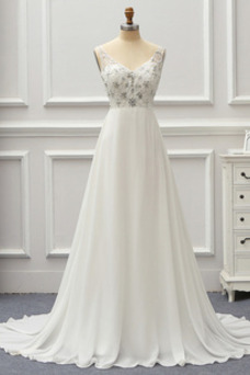 Vestido de novia Playa Sin mangas Baja escote en V Natural Corpiño Acentuado con Perla