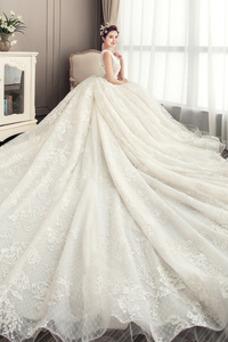 Vestido de novia Drapeado Natural Reloj de Arena Cola Catedral Capa de encaje