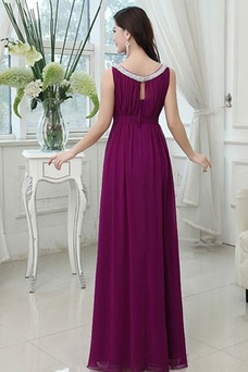 Vestido de dama de honor Corpiño Acentuado con Perla Escote redondo Corte-A