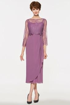 Vestido de madrina Corte Recto Moderno Gasa primavera Natural Hasta la Tibia
