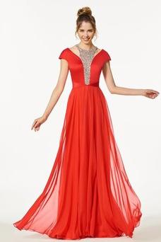 Vestido de fiesta Natural Joya Drapeado Reloj de Arena Corte-A Elegante