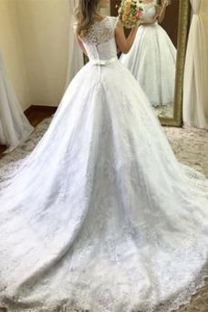 Vestido de novia Escote redondo Corte-A Capa de encaje Formal Sin mangas