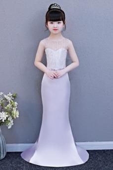 Vestido niña ceremonia Corte Sirena largo Corpiño Acentuado con Perla Satén