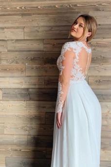 Vestido de novia Playa Mangas Illusion Manzana Corte-A Pura espalda