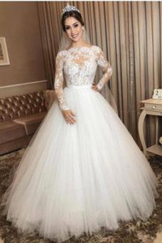 Vestido de novia Corte-A Natural Hasta el suelo Cremallera Capa de encaje