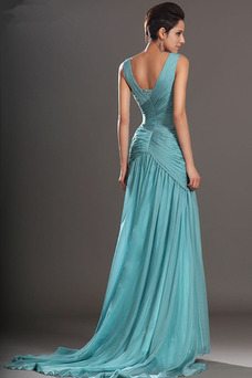 Vestido de noche Corte Sirena Drapeado Pera Cintura Baja Otoño largo