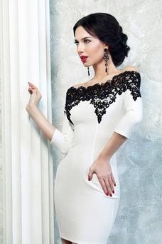 Vestido de cóctel Invierno Satén Corto Apliques Corte Recto Moderno