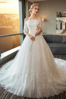 Vestido de novia Natural Espalda Descubierta largo Corte-A Mangas Illusion