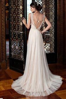 Vestido de novia Barco Sala Hasta el suelo vendimia Natural Espalda medio descubierto