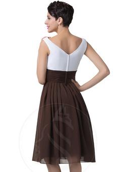 Vestido de noche Gasa Natural Corte-A Sencillo Escote en V Blusa plisada