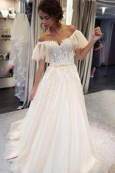 Vestido de novia Romántico Pera Verano Sin mangas Corte-A Natural