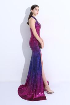 Vestido de fiesta sexy Corte-A Cremallera Con lentejuelas Hasta el suelo