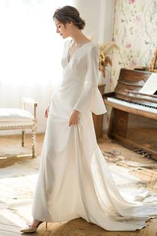 Vestido de novia primavera Natural Manga de Obispo Cordón Encaje Cola Barriba