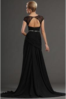 Vestidos de fiesta negros Espalda con ojo de cerradura Natural Transparente