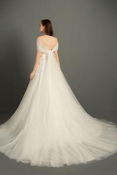 Vestido de novia Escote Corazón Elegante Apliques tul Natural Cremallera