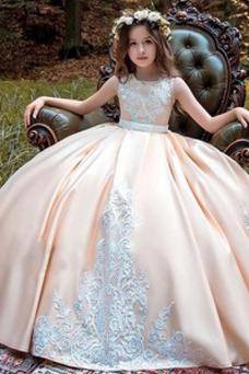 Vestido niña ceremonia Joya Encaje Natural Botón Corte-A Hasta el suelo