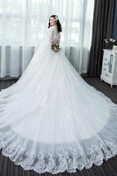 Vestido de novia Capa de encaje Apliques La mitad de manga Cordón Formal