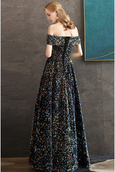 Vestido de fiesta Natural Corte-A Con lentejuelas Escote con Hombros caídos