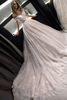 Vestido de novia Encaje Cremallera Escote con Hombros caídos Abalorio