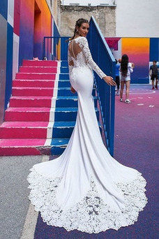 Vestido de novia Natural Cola Corte Camiseta Capa de encaje Pura espalda