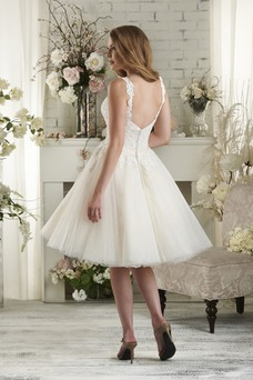 Vestido de novia Sin mangas Fajas Verano Espalda Descubierta Hasta la Rodilla