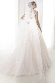 Vestido de novia Natural largo Sala primavera Corte-A Flores