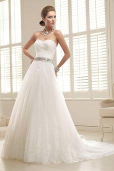 Vestido de novia Corte-A Escote Corazón Fuera de casa Verano Natural