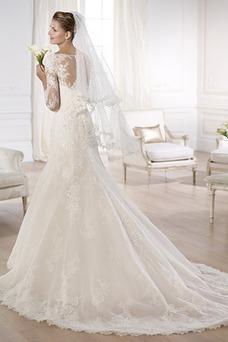 Vestido de novia Encaje Natural Cola Capilla Barco Con velo Iglesia