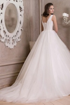 Vestido de novia Corte princesa Modesto Abalorio Natural Escote Cuadrado