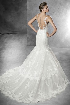 Vestido de novia Cola Capilla Natural Moderno Pura espalda Botón Encaje