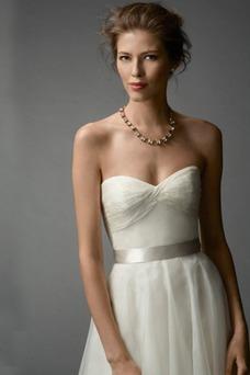 Vestido de novia Verano tul Escote Corazón Sin mangas Plisado Cola Barriba