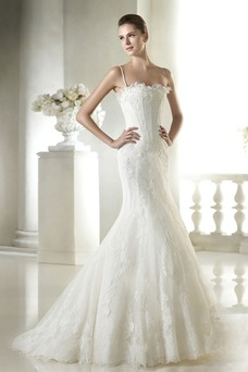 Vestido de novia Corte Sirena Encaje largo Espalda Descubierta Elegante
