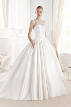 Vestido de novia Invierno Bola Sin mangas Satén Natural Joya