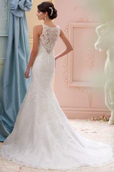 Vestido de novia vendimia Barco Apliques Otoño Pura espalda Natural