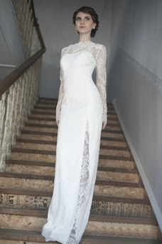 Vestido de novia Escote con cuello Alto Apertura Frontal Verano Manga larga