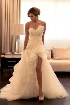Vestido de novia Romántico Organza Apertura Frontal Con velo Fuera de casa