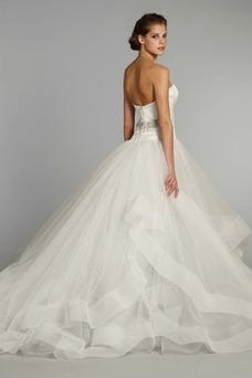 Vestido de novia Otoño Escote Corazón Cremallera Botón Elegante Natural