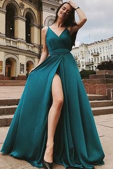Vestido de noche Natural Sencillo Escote en V Verano Corte-A Sin mangas