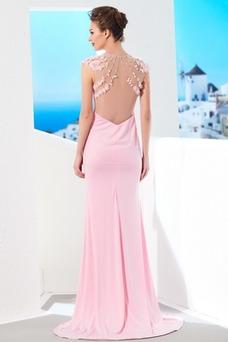 Vestido de noche largo Elegante Joya Natural Abalorio Corte Recto
