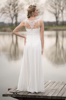 Vestido de novia Imperio Joya Elegante Hasta el Tobillo Sin mangas Abalorio
