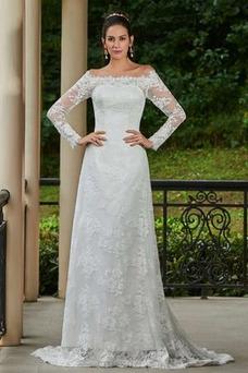 Vestido de novia vendimia Encaje Playa Alto cubierto Manga larga Natural